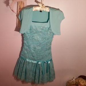 Amy Byer Size 12 Sparkled Blue Formal Girls Dress